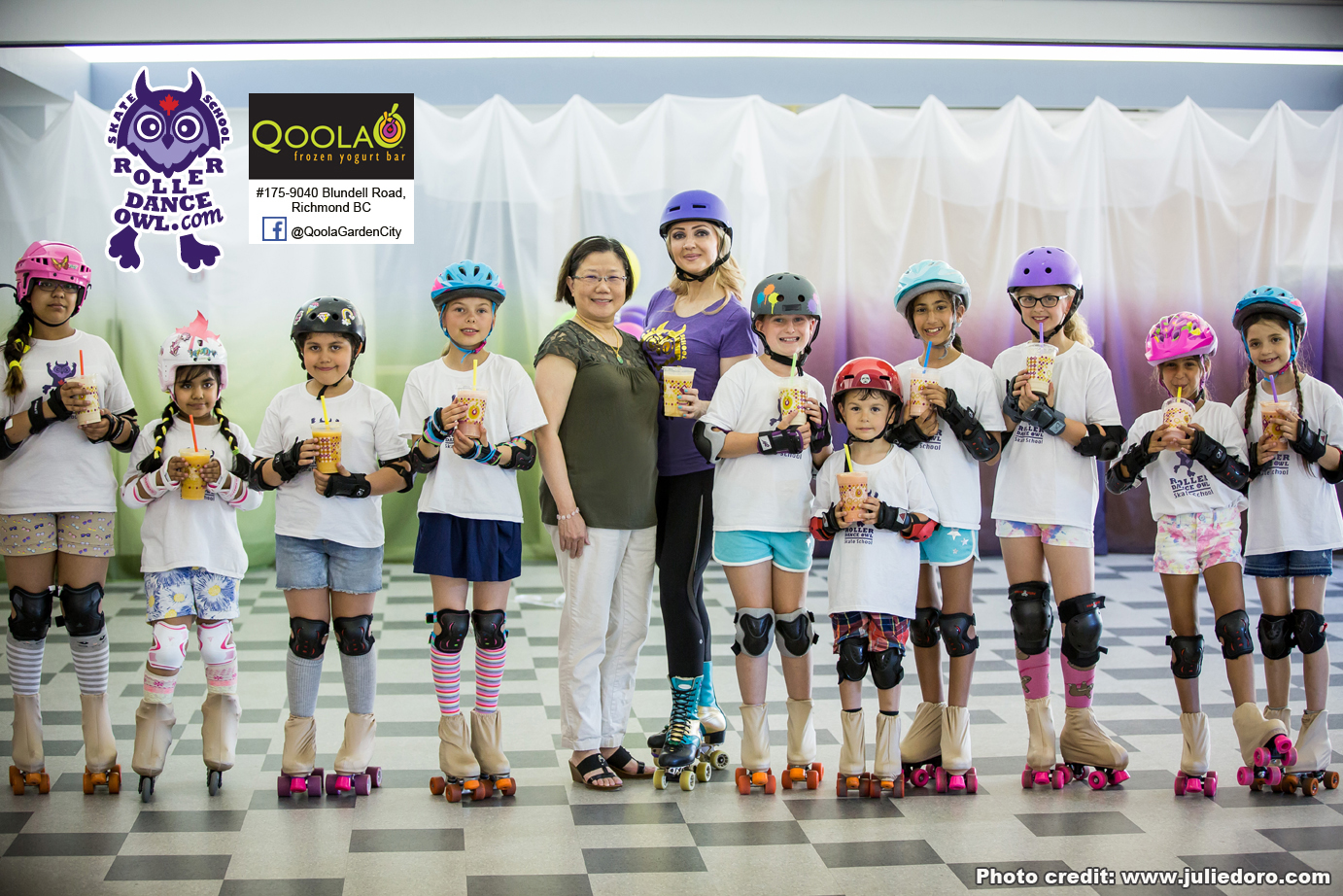 Roller Dance Owl students with sponsor of the project Qoola Yogurt - Garden City, Richmond BC.